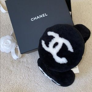 SOLD - Chanel 20b Black Shearling Earmuffs